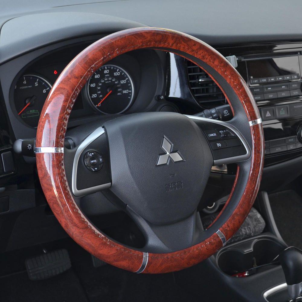 Bdk Dark Wood Grain Car Steering Wheel Cover Standard