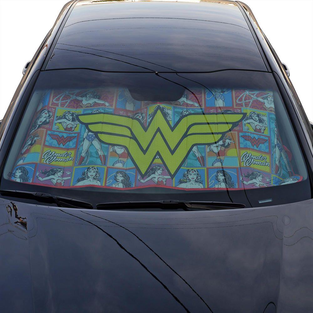 Wonder Woman Windshield Sun Shade Yellow Logo W Retro